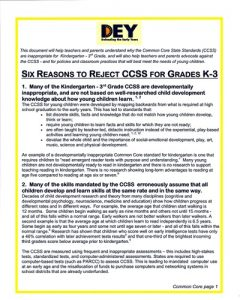 six reasons to reject the common core standards