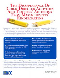 The Disappearance of child-directed activities and teachers' autonomy from Massachusetts kindergartens