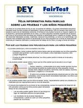 Hoja informativa para familiassobre las pruebas y los niños pequeños