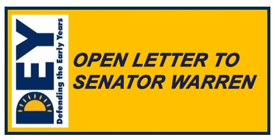 DEY's Open Letter to Senator Warren on her plan for universal child care