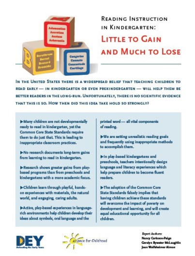 DEY -- READING INSTRUCTION IN KINDERGARTEN: ​LITTLE TO GAIN AND MUCH TO LOSE.