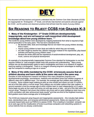 DEY -- Six reasons to reject the Common Core standards