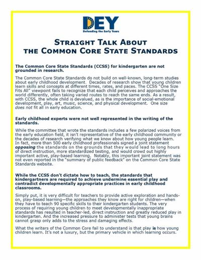 DEY -- Straight talk about Common Core issues