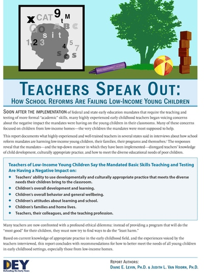 "DEY: ""Teachers speak out: how school reforms are failing low-income young children"", DEY Report"