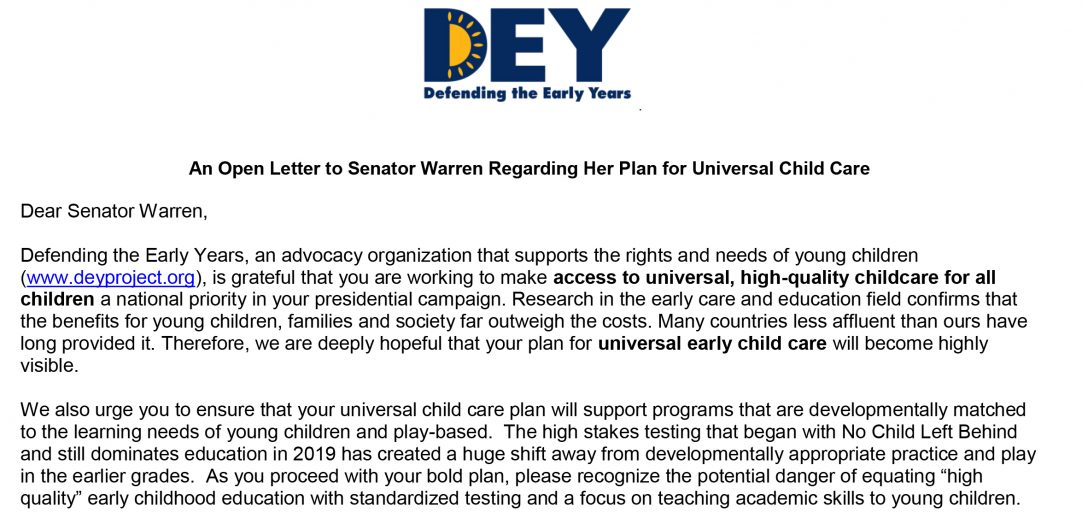 DEY -- Open Letter to Senator Warren