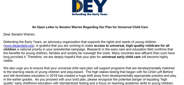 DEY -- Open Letter to Senator Warren