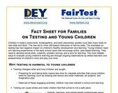 Fact Sheet for Familieson Testing and Young Children