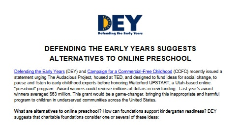 Defending the Early Years: Alternatiave to Online Preschool