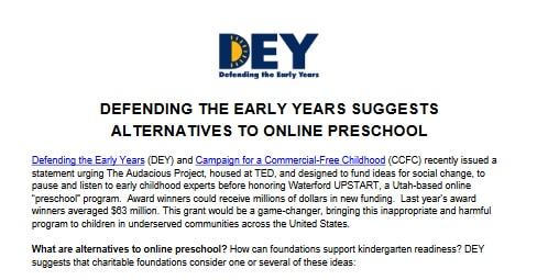 Defending the Early Years: Alternatiave to Online Preschool