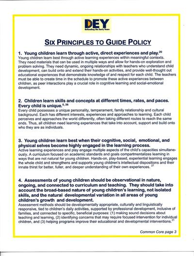 DEY -- Six Principles to Guide Policy