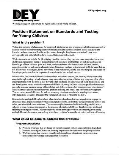 DEY -- Position Statement on Standards and Testing for Young Children